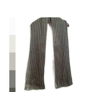 Betsey Johnson Gray Knit Scarf with Pearls